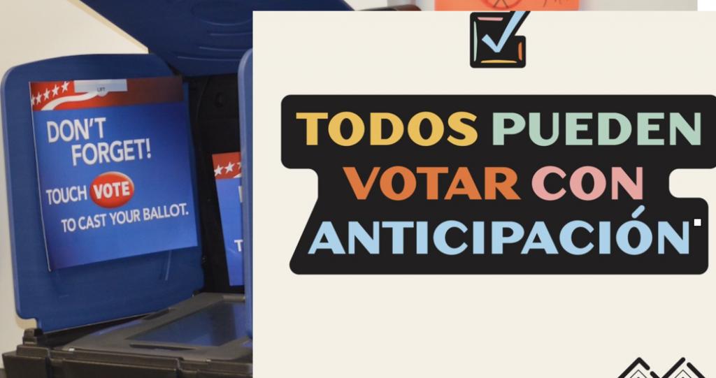 Solo quedan pocas horas para poder  VOTAR CON ANTICIPACIÓN Antes de las elecciones del 3 de noviembre