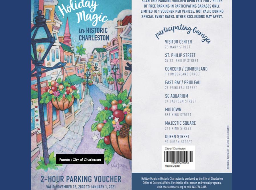 Charleston ofrece vale de estacionamiento gratuito de 2 horas 'Holiday Magic in Historic Charleston'
